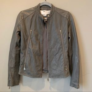 Doma Grey Lamb Leather Moto Jacket Sz Small